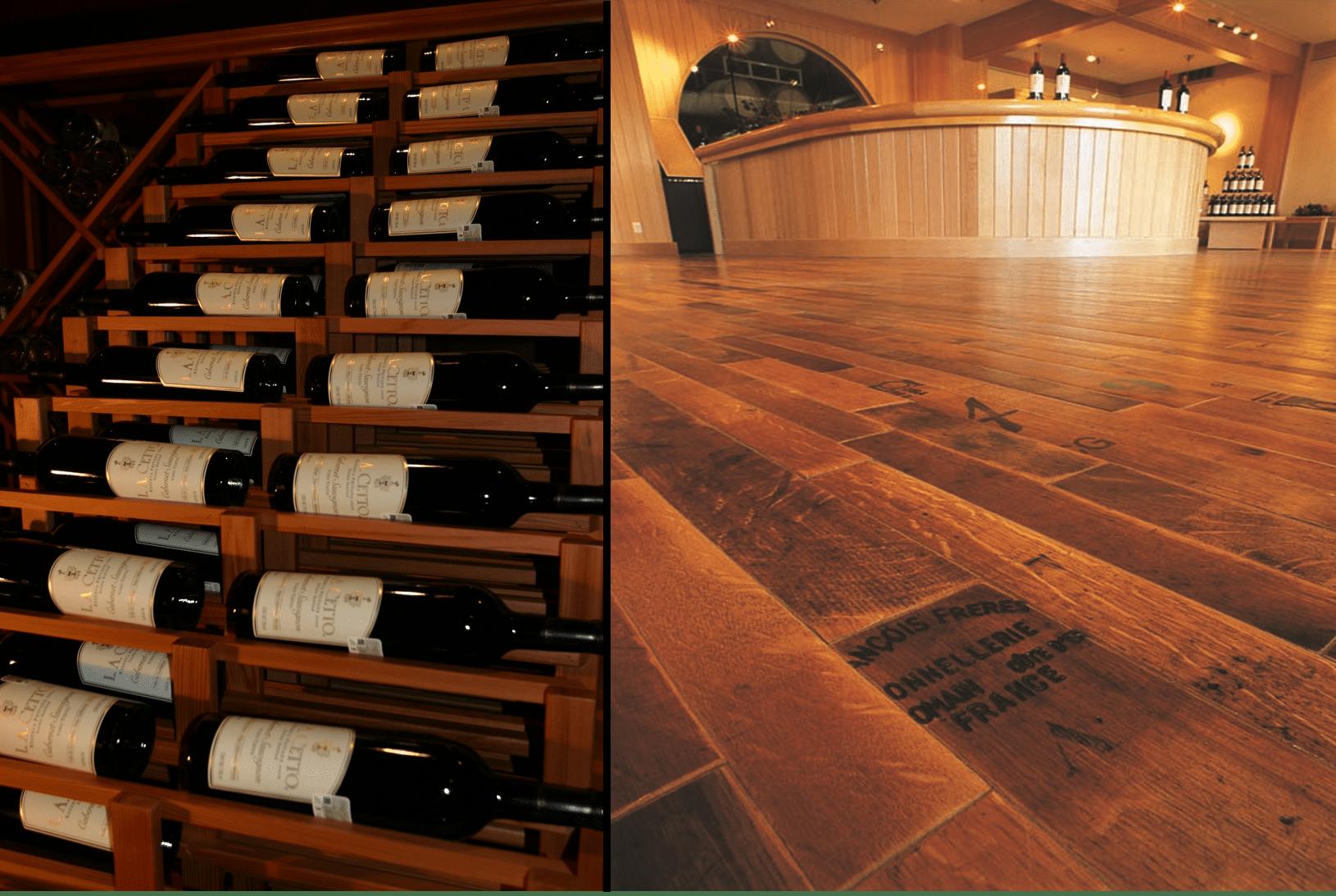 02 miami beach south florida hospitality wine cellars wine barrel flooring and waterfall display barrel wine cellar designs
